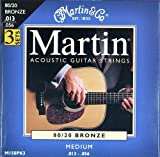 Martin 80/20 Bronze Acoustic Guitar Strings - Medium (Pack of 3)