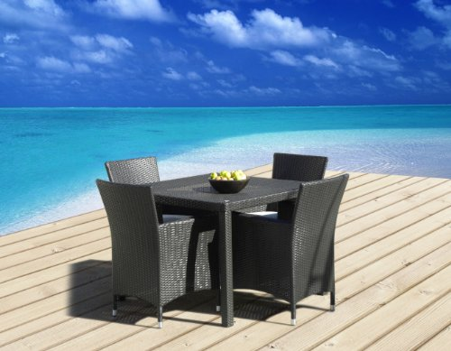 Outdoor Patio Wicker Furniture New All Weather Resin 5-Piece Dining Table & Chair Set photo