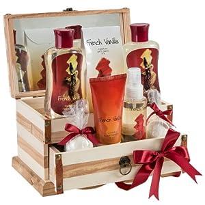 French Vanilla Bath Gift Set in 200ml shower gel,200ml bubble bath, 120g bath sale, 120ml body spray,100g body lotion, 2 fizzer by Freida & Joc