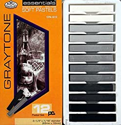 12pc Graytone Soft Pastels -Artist Drawing Supplies