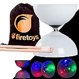 LED Big Top Light Up Bearing Diabolos Set, Hardwood Diablo Sticks, Diabolo string & Firetoys Bag!