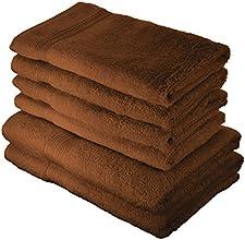 AmazonBasics Handtuch-Set, ausbleichsicher, 2 Badetücher und 4 Handtücher, Haselnussbraun
