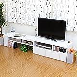 テレビボード テレビ台にも、パソコンデスク でもどちらでも使えます! オシャレ 住まい テレビ台 伸縮式 TV台 AVボード ホワイト の中古画像