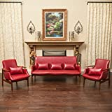 Braselton Modern Mid Century 3pc Loveseat and Chair Set in Red Leather