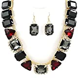 Red Gray Black Goldtone Crystal Necklace and Earring Set