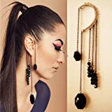 Yazilind Jewelry Cool Dignity Black Golden Dangle Chain Beads Alloy Ear Cuff Earrings for Women Gift Idea