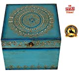 "One Day SALE - Turquoise Blue Keepsake Box / Trinket Box / Jewelry Box / Storage Box - Vintage 6"" Treasure Chest in Wood"
