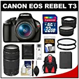 Canon EOS Rebel T3 Digital SLR Camera Body & EF-S 18-55mm IS II Lens with 75-300mm III Lens + 32GB Card + Case + Battery + Tele Wide Lenses + Filters Kit