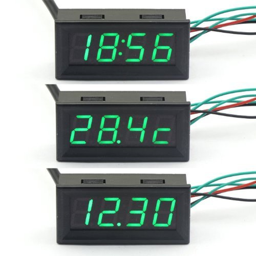 Riorand Green Led Digital Gauges Automotive Monitor 12 V Car Colck Panel Voltmeter Thermometer 3In1