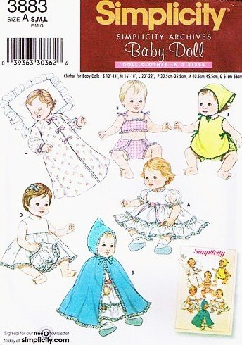 Simplicity 3883 Baby Doll Clothes Archive Sewing Pattern in Three Sizes (Small 12