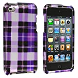 Purple Checker Design Crystal Hard Skin Case Cover New for Apple Ipod Touch iTouch 4th Generation Gen 4g 4 8gb 32gb 64gb - Electromaster(TM) Brand