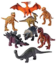 12 - Assorted Medium Sized Plastic Toy Dinosaurs Play set figures.