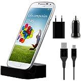 kwmobile Station d'accueil micro USB pour Samsung Galaxy S4 Mini i9190 / i9195 Noir + kit de chargement haut de gamme au design élégant 500 mAh