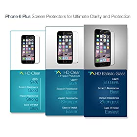 iPhone 6 Plus Screen Protector, Tech Armor Apple iPhone 6 Plus (5.5 inch ONLY) High Defintion (HD) Clear Screen Protectors [3-Pack] Lifetime Warranty