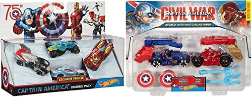 Hot Wheels Exclusive Captain America 75th Avengers Car Set 4 Cars + Marvel Captain America: Civil War Captain America vs. Iron Man Moto 2-Pack