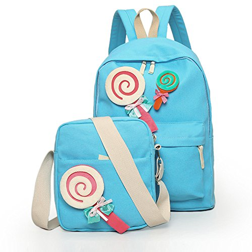 Elegante ragazza-borse tracolla lollipop due kit zaino in tela kit studente , blu