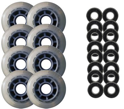 Clear / Silver Inline Skate Wheels 78mm 78a + ABEC 5'S