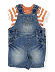 2 Piece Pure Cotton Striped T-Shirt & Denim Bibshort Dungaree Outfit