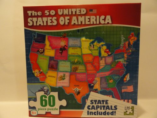 The 50 United States of America 60 Piece Puzzle - State Capitals Included! - 1