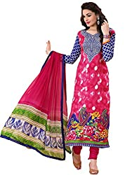 Rozdeal Women Georgette Printed Unstitched Long Sleeve Pink Anarkali Suit