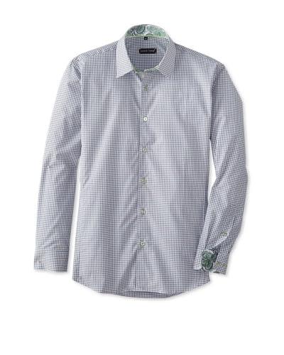 Jared Lang Men's Gingham Long Sleeve Shirt with Paisley Detail