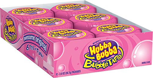 Hubba Bubba Bubble Gum Tape, Awesome Original, 6-Foot Tapes (Pack of 24)