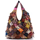 Flower Crystal Studded Leather Hobo Handbag