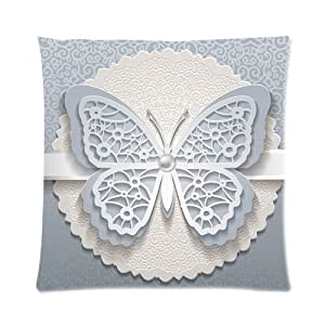 Personalized Butterfly Heart Throw Pillow Cover : Amazon.com: Vintage White Butterfly Silver Rosette Ribbon Fashion Custom Zippered Pillow Cushion ...