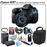 Canon EOS 60D Digital SLR with Canon EF-S 18-135mm f/3.5-5.6 IS Lens & CS Sports Package: Includes High Definition Wide Angle/Macro Lens, UV Filter, High Speed 32GB SDHC Memory Card, SD Card Reader, Holster Case, Canon LPE6 Replacement Battery, Rapid Travel Charger, Tulip Lens Hood, Remote Shutter Release, Brush Blower, Cleaning Kit, Lens Pen & CS Microfiber Cleaning Cloth