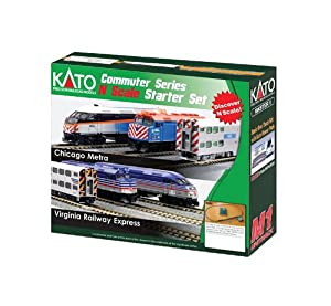 Kato USA Model Train Products N F40PH and Gallery Bi-Level Commuter Series Chicago Metra UNITRACK Starter Set by Kato USA Model Train Products