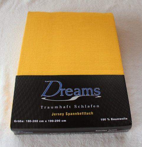 Dreams 100% Baumwolle Jersey Spannbettlaken Farbe Gelb Größe 180 x 200 bis 200 x 200 cm Spannbettuch Spannlaken mit Rundumgummi