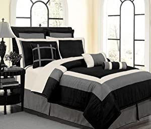 9 Pc Luxury Set Black White Grey Hampton