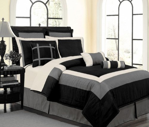 9 Pc Luxury Set, Black / White / Grey Hampton Faux Silk Comforter Set - California Cal King Bedding