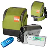 First2savvv high quality anti-shock green Nylon camcorder case bag for Canon LEGRIA HF R48 + card reader