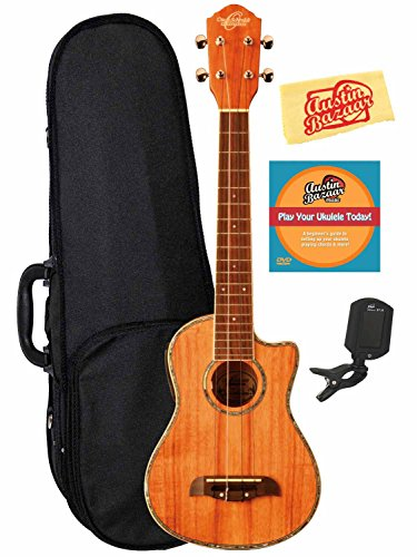 Oscar Schmidt By Washburn Ou5Lce Long Neck Concert Acoustic-Electric Ukulele Bundle With Hard Case, Tuner, Instructional Dvd, And Polishing Cloth