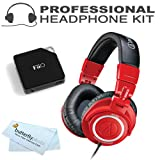 Audio-Technica ATH-M50RD Limited-Edition Red Professional Studio Monitor Headphones with Coiled Cable with FiiO E6 Headphone Amplifier