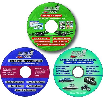 Detail King ALL 3 New CD-ROMs - Flyers - Door Hangers - Custom Service Menu Booklet Value Package (Service Menu compare prices)