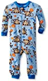 Gerber Baby-Boys Infant 1 Piece Unionsuit Monkey Kick Pajama, Blue/Brown, 18 Months