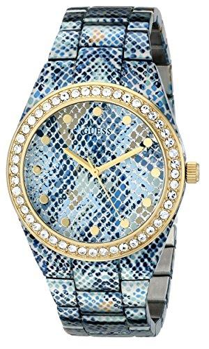 GUESS U0583L1 blu ghiaccio da donna, stampa pitonata, colore: oro, tonalità-Orologio con cristalli