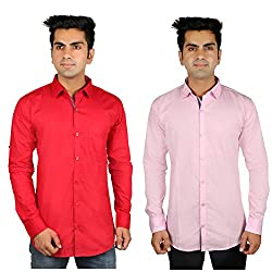 Nimegh Pink, Red Color Cotton Casual Slim fit Shirt For men's (Pack of 2)