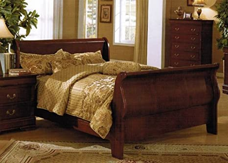 California King Size Bed - Traditional Cherry Brown Finish