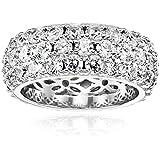 Platinum Plated Sterling Silver Swarovski Zirconia 3 Row Pave Round Cut Ring, Size 5