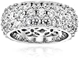 Platinum-Plated Sterling Silver Swarovski Zirconia Three-Row Pave Round Cut Ring