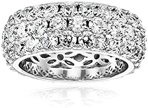 Platinum Plated Sterling Silver Swarovski Zirconia 3 Row Pave Round Cut Ring, Size 7