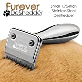 Furever Deshedder Stainless Steel Pet Hair Deshedding Grooming Brush - Small 1.75-Inch Comb - Perfect Tool For Cats and Small Dogs - Helps Prevent Shedding and Hairballs