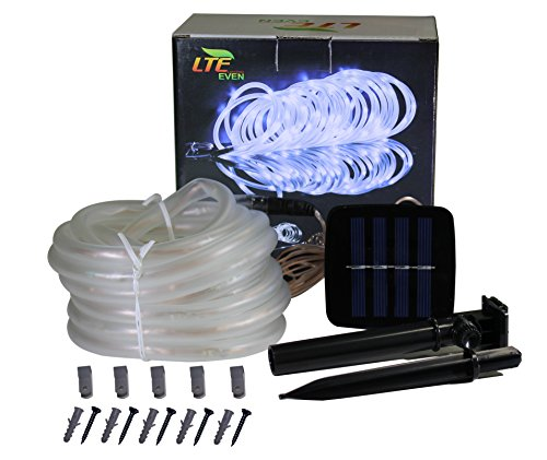 LTE Solar Power Rope Lights, Waterproof, 23ft, 50 LED,6000K, String Light, Portable, with Light ...