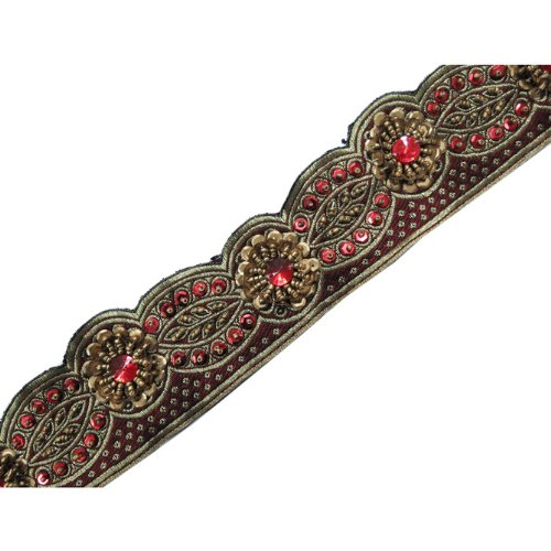Hand Beaded Red Cut Style Copper Sequin Trim Ribbon 1 Y