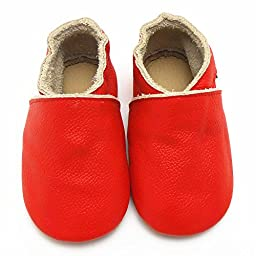 Sayoyo Lowest Best Baby Soft Sole Prewalkers Skid-resistant Baby Toddler Shoes Cowhide Shoes (0-6 months, Red)