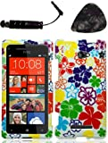 Mobile accessories HTC 8X (GSM) Hawaii Flower Case Cover Protector Design Snap on Hard Shell Faceplate AND HiShop(TM) Stylus, Guitar Pick/Pry Tool