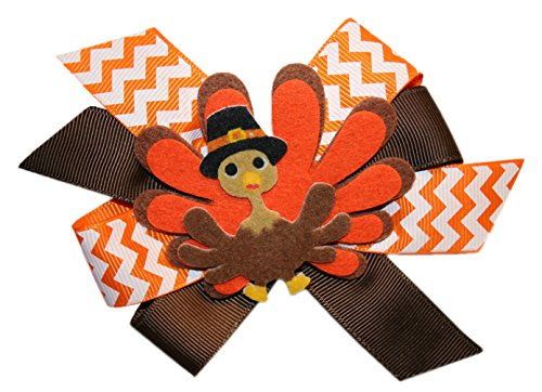 Webb Direct 2U Girls Pilgrim Tom Turkey Thanksgiving Hair Bow Alligator 8041A front-984443